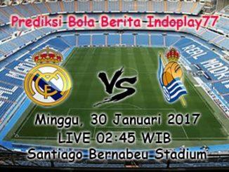 Berita Indoplay - Prediksi Real Madrid Vs Real Sociedad Minggu, 30 Januari 2017. Pertandingan La Liga Spanyol antara Real Madrid Vs Real Sociedad di Santiago Bernabéu Stadium, pada pukul 02:45 WIB.